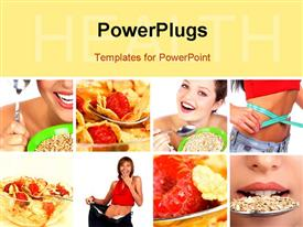 PowerPoint template displaying healthy eating cereals pretty women. Diet. Food in the background.