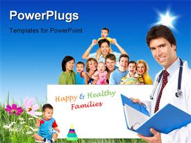 PowerPoint template displaying happy family on flower field with medical doctor smiling