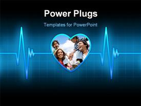 Blue line of the pulse with the planet in the form of heart powerpoint theme