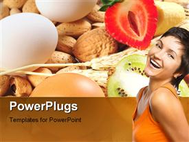 PowerPoint template displaying a beautiful girl with a number of vegtables and eggs in the background