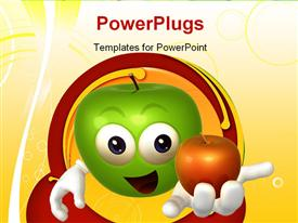 PowerPoint template displaying green 3D cartoon character with red apple in hand