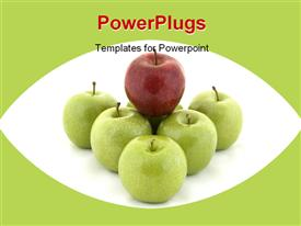 PowerPoint template displaying red apple sits on top of six green apples in the background.