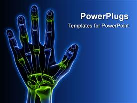 PowerPoint template displaying x-ray depiction of a skeletal hand with highlighted joints