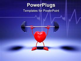 PowerPoint template displaying animation of a red heart lifting a weight with blue background