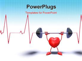Bodybuilding heart who lifts weights powerpoint design layout