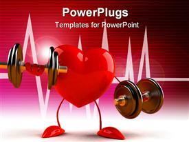 PowerPoint template displaying fun 3D generated depiction of a heart