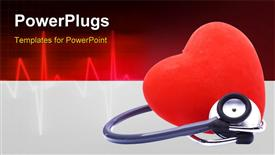 PowerPoint template displaying cute red heart with a stethoscope medical background