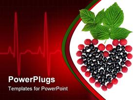 PowerPoint template displaying currants, raspberries and mint making heart, EKG heart rhythm, nutrition, healthy eating, wellness, cardiology