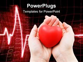 PowerPoint template displaying two woman hands holding a red heart cardiogram heartbeat line on red and black background
