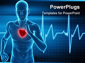 PowerPoint template displaying heart rate monitor live a healthy life  running  mans beat heart waves