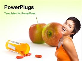 PowerPoint template displaying healthy young woman smiling with capsules from pill bottle and red apple