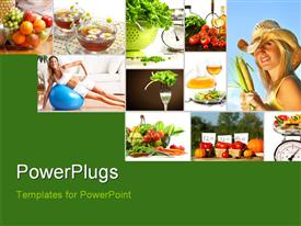 PowerPoint template displaying lots of tiles depicting a theme of healthy living