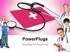 Stethoscope and red cross symbol powerpoint theme
