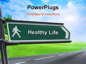 PowerPoint template displaying signpost with keyword healthy life and nature in background