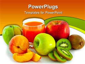PowerPoint template displaying lots of fresh fruits with a glass of fruit juice