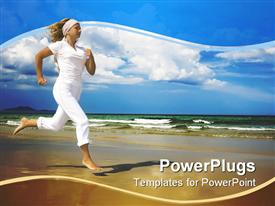 Young woman is running near the ocean. Space for copy powerpoint theme