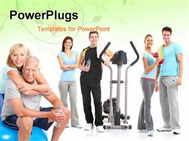 PowerPoint template displaying a number of people who are healthy because of exercise