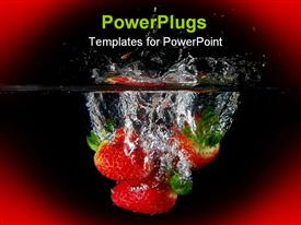 PowerPoint template displaying three juicy strawberries in water on a red background