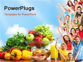 PowerPoint template displaying group of people with fresh fruits and vegetables depicting healthy lifestyle