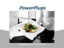 PowerPoint template displaying restaurant depiction of a waitress holding a healthy dish on her hand, with healthy salad on a white plate and wine on a restaurant table on black and white background