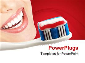 PowerPoint template displaying toothbrush with toothpaste next to smiling woman in red background