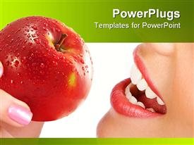 PowerPoint template displaying woman's mouth and hand holding apple, nutrition, dental hygiene