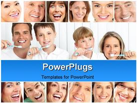 PowerPoint template displaying a number of people showing their healthy teeth