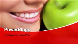PowerPoint template displaying healthy living with close-up of woman and green apple