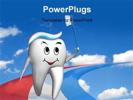 PowerPoint template displaying olympic tooth running on a multi color toothpaste track depicting dental care