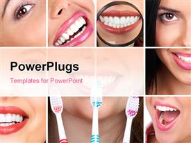 PowerPoint template displaying collage of smiling lady with good dentition and toothbrush for dental care