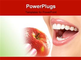 PowerPoint template displaying happy woman with perfect dentition eating healthy from red apple