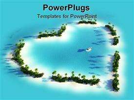 PowerPoint template displaying aerial view of a heart-shaped island in a turquoise water with a yacht
