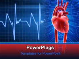 PowerPoint template displaying anatomy depiction of a human heart