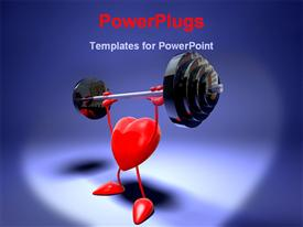 PowerPoint template displaying heart with arms and legs lifting heavy weight on blue background