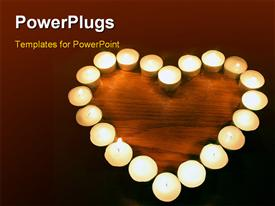 PowerPoint template displaying candle heart in the background.