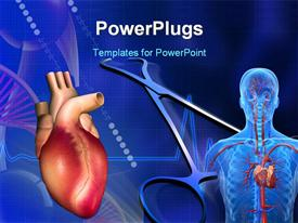 PowerPoint template displaying heart with eco cardio gram pulse and surgical scissor in the background.