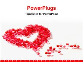 PowerPoint template displaying heart make by bids