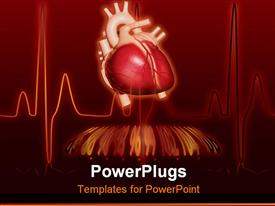 Heartbeat monitor with bpm readout overlaid on top of the heart line powerpoint design layout
