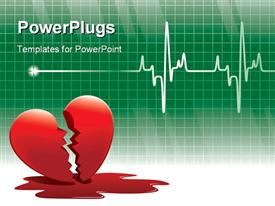PowerPoint template displaying broken red heart with blood on floor and ECG  wave in background