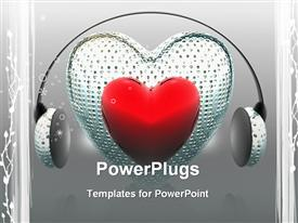 PowerPoint template displaying music of the heart with headphone creative background