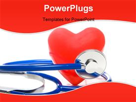 PowerPoint template displaying red heart shape and a medical stethoscope in the background.