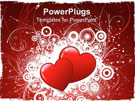 Two hearts on a grunge style decorative background powerpoint theme