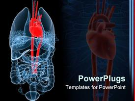 PowerPoint template displaying x-ray depiction of human anatomy with red heart, lungs and intestines