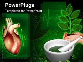 PowerPoint template displaying heart with ayurvedic medicine