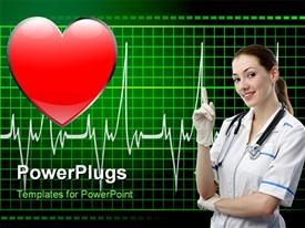 PowerPoint template displaying drawing on the theme of Cardiology. Heart and pulse