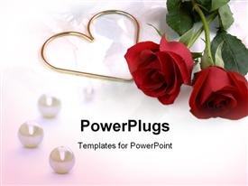 PowerPoint template displaying two roses and a gold metal heart on a very soft, flowery background