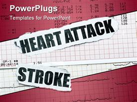 PowerPoint template displaying heart attack and stroke with chart concept- many uses in the insurance industry