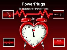 Heart shaped alarm clock with heart beat graph in the background powerpoint template