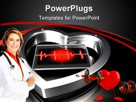 PowerPoint template displaying metallic silver heart with a pulse and a doctor smiling