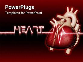 PowerPoint template displaying heartbeat with text heart in the background.
